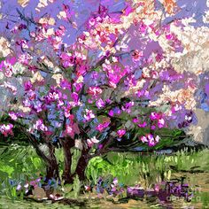 Ginette Callaway. Tulip Magnolia Tree Modern Impressionist Art Painting