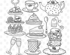 High tea afternoon tea time teapot teacups cake handdrawn hand drawn doodles bundle png clipart for stickers planner coloring digital s Doodle Drawings, Doodle Art, Buch Design, Coloring Book Pages, High Tea, Afternoon Tea, Planner Stickers, Tea Time, Stencil