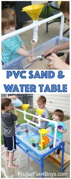 How to Make a PVC Pipe Sand and Water Table - Frugal Fun For Boys and Girls How to Build a PVC Pipe Sand and Water Table. It's a TON of fun! Have fun building a sand and water table – your kids are going to love it! Kids Water Table, Sand And Water Table, Water Tables For Toddlers, Kids Water Play, Outdoor Play For Toddlers, Kids Play Table, Water Activity Table, Toddler Activity Table, Toddler Outdoor Playset