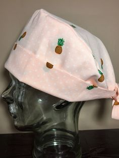 Little Pineapples on Blush Pink and white Pin Dots Surgical Scrub Hat, Women's Pixie Scrub Cap, Operating Room Hat, Custom Caps Company by CustomCapsCompany on Etsy