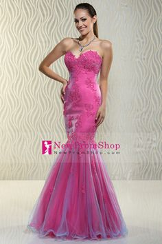2015 Prom Dresses Mermaid/Trumpet Sweetheart Tulle Zipper Up Back With Applique