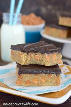 Chocolate Butterscotch Oat Bars - chocolate frosting and butterscotch chips make these oat bars extra delicious