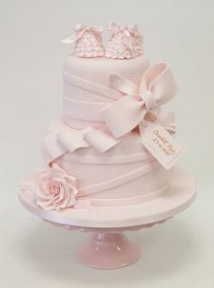 Beautiful Pastel Pink Christening Cake | Birthday Cake, Christening Cakes, Pink Cakes | Beautiful Cake Pictures