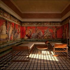 Reconstruction of the Triclinium - Villa of the Mistery -