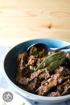 Sri Lankan Black Pork Curry [Pork loing chops or shoulder + Roasted Curry Powder (recipe), cardamom, cinnamon, cayenne, tamarind paste, bay leaves, garlic, ginger, Jalapeno pepper or serrano]  #Srilankan