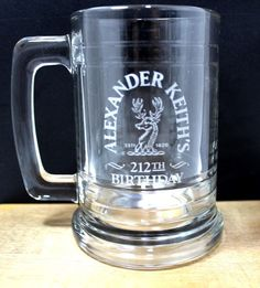 Alexander Keith s 212TH Birthday Anniversary 14fl.Oz. Etched Beer Glass Stein | eBay