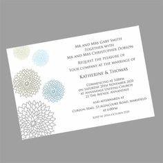 This original wedding invitation design features blooms in complementary colours. It can also be supplied in other colours. www.kardella.com