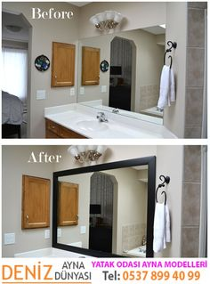 Framing those boring mirrors d i y projects pinterest walls diy project frame your bathroom mirror solutioingenieria Images