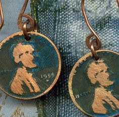 Abraham Lincoln Jewelry - boho hobo Abe penny earrings with the ghost of abe lincoln altered coins with verdigris finish. via Etsy. Penny Jewelry, Coin Jewelry, Jewlery, Copper Earrings, Copper Jewelry, Unique Jewelry, Jewelry Ideas, Diy Accessoires, Girls Earrings