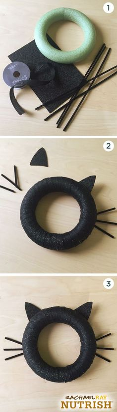 The purrfect Halloween DIY for your front door or spooky tree. This black cat wreath is super simple to make. All you need is a foam circle, glitter foam, pipe cleaners and ribbon. Start by wrapping t Casa Halloween, Holidays Halloween, Halloween Crafts, Happy Halloween, Halloween Decorations, Halloween Wreaths, Tree Decorations, Halloween Halloween, Vintage Halloween