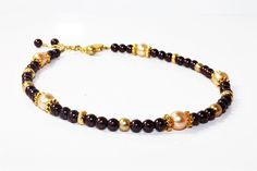 Plum Purple, Champagne Glass Pearl, and Gold Plated Beaded Anklet by MarmeliDesigns on Etsy https://www.etsy.com/listing/107292648/plum-purple-champagne-glass-pearl-and