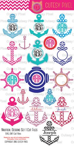 Nautical Designs Monogram Frames Please have a look at my other art! https://www.etsy.com/shop/CutesyPixel  This is Digital artwork ready for