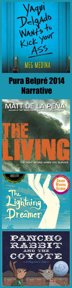 Pura Belpré 2014 Winners and Honor Books. Winner: Yaqui Delgado, by Meg Medina. Honors: The Living, Matt de la Peña; The Lightning Dreamer, Margarita Engle; Pancho Rabbit and the Coyote, Duncan Tonatiuh.