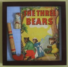 Shadowbox with vintage toys and book...Idea for wall art in playroom.