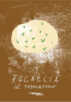 Focaccia with rosemary Italian print high quality fine by anek