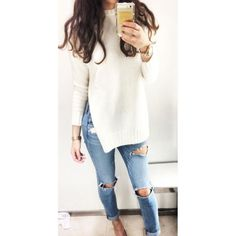 Women's Sexy Slit Side Knitted Jumper Top Casual Pullover
