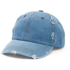 Women's Mudd® Distressed Denim Baseball Hat ($8.99) ❤ liked on Polyvore featuring accessories, hats, caps, dark blue, distressed ball cap, baseball hats, distressed baseball hats, vintage caps and adjustable baseball caps
