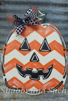 Chevron Jack-o-lantern Pumpkin Door Hanger Handpainted Wood Sign Wreath X-large…