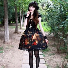Customized Oil Painting Girl Printing Lolita Black Chiffon and Lace Dress