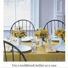 These look beautiful!  Another great Martha Stewart idea - toothbrush holder flower vases!  Takes the guesswork out of arranging and makes shorter arrangements - more suitable for table conversing!