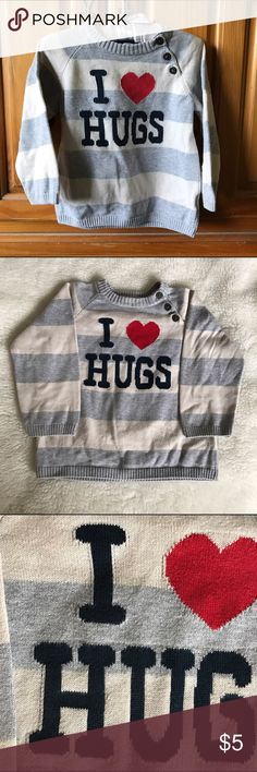 H&M Baby Boy Sweater Cream & gray I ❤️HUGS sweater. Good condition 9-12 months H&M Shirts & Tops Sweaters