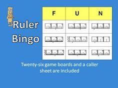 Vintage Teacher: Measurement Bingo: Reading a Ruler in Inches