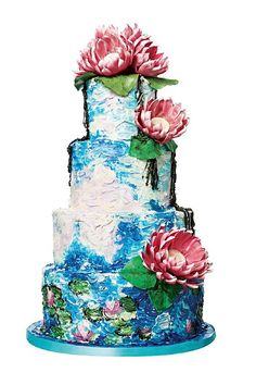 Monet's art incorporated into a wedding cake.. WANT.
