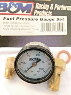 B&M Racing Fuel Pressure Gauge Set Kit 100psi mechanical Civic Integra Eclipse #BMRacing