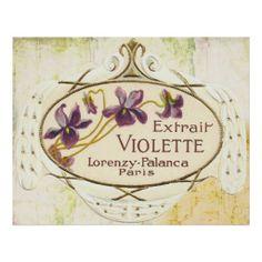 Vintage Paris Perfume Label, Extrait Violette Poster