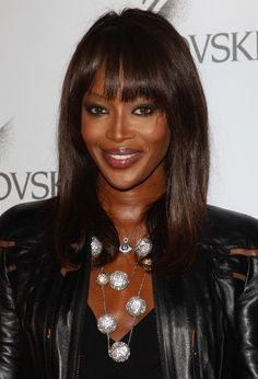 Naomi Campbell Medium Straight Cut with Bangs - Click image to find more Hair & Beauty Pinterest pins
