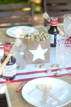 Brown Paper Lunch Bag Centerpieces & Kraft Paper Table Runner