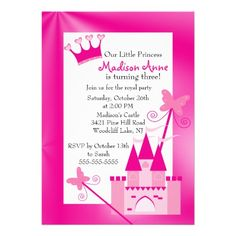 Princess Birthday Party Invitation     Start your party off right with our cute Birthday Invitation featuring a beautiful castle with a bright pink background. Perfect for a princess 1st birthday party invitation or any little girls birthday. Just personalize with your information and you're all set to go Created By celebrateitinvites