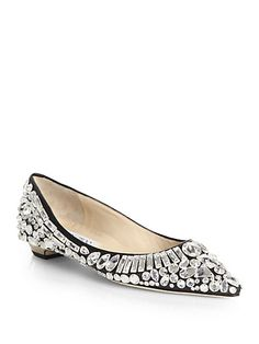 Tibet Jeweled Leather Point-Toe Flats by Jimmy CHoo