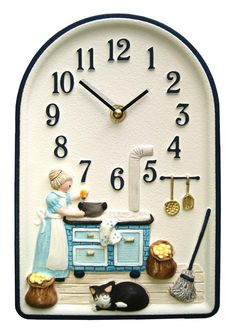 Vintage Uhr Küche Wanduhr deutsche Keramik braun von Berlinattic ...