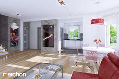 Wnętrze strefy dziennej (salon+jadalnia+kuchnia) przygotowane przez nas dla Domu w rododendronach - http://archon.pl/gotowe-projekty-domow/dom-w-rododendronach-ver-2/m6131f70578c46