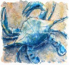 paintings of shells Starfish Painting, Crab Painting, Love Painting, Painting Tips, Watercolor Animals, Watercolor Paintings, Goin Coastal, Crab Art, Nautical Art