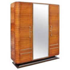 French Art Deco Palisander Rio Armoire, circa 1940s | From a unique collection of antique and modern wardrobes and armoires at https://www.1stdibs.com/furniture/storage-case-pieces/wardrobes-armoires/