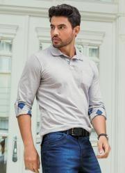 Camisa Polo Manga com Estampa Interna (Cinza)