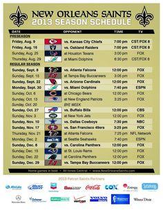 2013 Season Schedule