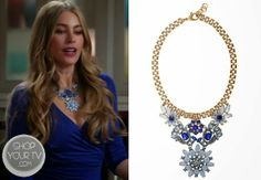 Gloria Prichett (Sofia Vergara) wears this Czech glass vintage inspired necklace in this week's episode of Modern Family.