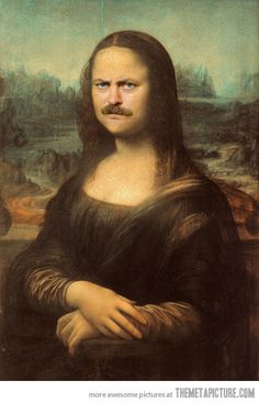 Here's Ron Swanson as the Mona Lisa…