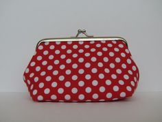 Red polka dots metal frame purse coin purse by blackbirdbag