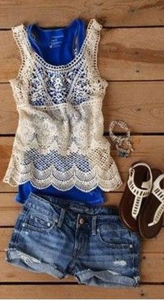 Cute Summer Outfit // Denim and Lace Fashion Moda, Look Fashion, Fashion Beauty, Womens Fashion, Ladies Fashion, Teen Fashion, High Fashion, Denim And Lace, Looks Style