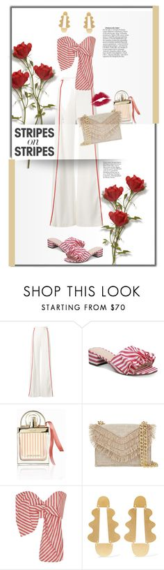 """Red stripes."" by zeljkaa ❤ liked on Polyvore featuring Galvan, Bar III, Chloé, Cynthia Rowley, Johanna Ortiz, Annie Costello Brown, stripesonstripes and PatternChallenge"