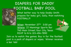 Diapers For Daddy Baby Shower Invitation- Without football pool