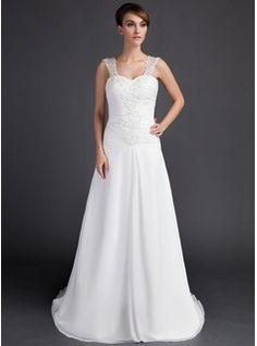 A-linjeformat Hjärtformad Domstolen Tåg Chiffong Bröllopsklänning med Rufsar Spetsar Pärlbrodering