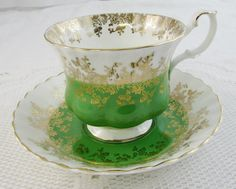 Royal Albert Tea Cup and Saucer Green Regal Series, Vintage Bone China