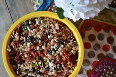 Quick farro salad recipe: farro, sun dried tomatoes, green onion, olives, and feta