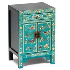 Beautiful oriental inspired small bedside cabinet with a small drawer and two door cupboard with antiqued steel pin closure finished in distressed turquoise with hand painted and gilt decoration. Lacquer Furniture, Cabinet Furniture, Furniture Decor, Bedside Cabinet, Painted Furniture, Furniture Design, Cabinets For Sale, Blue Cabinets, Bathroom Cabinets