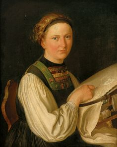 -Franz Krammer. 1797 - Vienna - in 1834. Studied at the Vienna Academy. Exhibited from in 1820. Received in 1822 Lampi Award, 1826 Füger the price. Signed 1834 dated Halbfigürliches Portrait of a girl on the embroidery frame. Blonde hair with headband. White blouse with embroidered bodice with Monogr. M.HS.C.